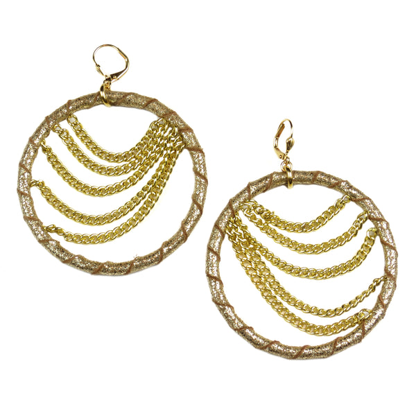 Chandelier Drape Hoop Earrings - Gold