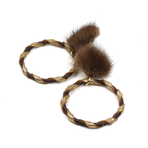 Double Wrap Mink Hoop Earrings - Chocolate