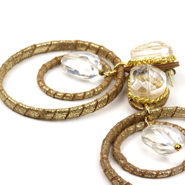 Crystal Ball Drop Hoops - Gold