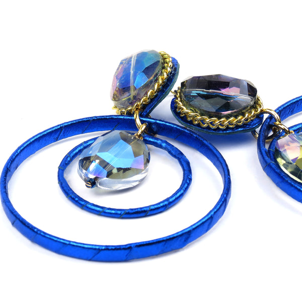 Crystal Ball Drop Hoops - Metallic Blue