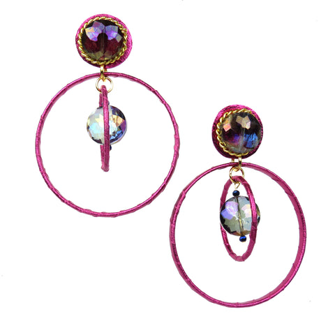 Crystal Ball Drop Hoops - Metallic Pink