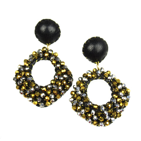 Crystal Beaded Diamond Drop Earrings - Black