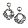 Crystal Beaded Diamond Drop Earrings - Silver
