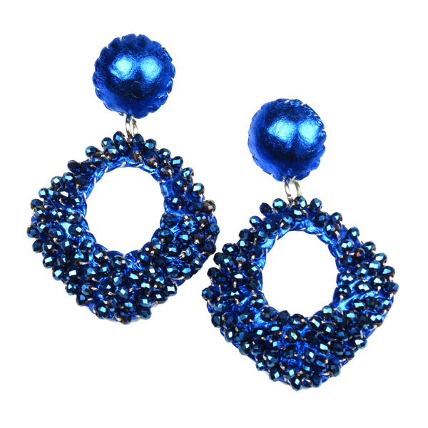 Crystal Beaded Diamond Drop Earrings - Metallic Blue