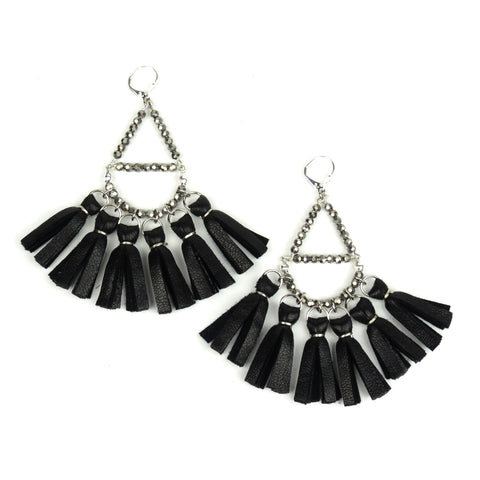 Crystal Beaded Tassel Earrings - Black