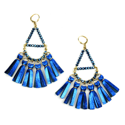 Crystal Beaded Tassel Earrings - Metallic Blue