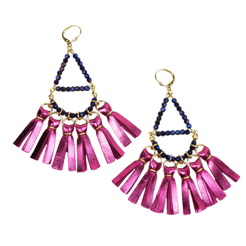 Crystal Beaded Tassel Earrings - Metallic Pink