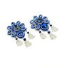 Crystal Petal Earrings - Metallic Blue