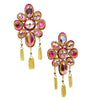 Crystal Petal Earrings - Metallic Pink