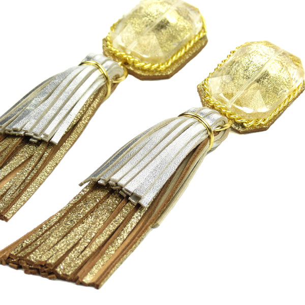 Crystal Square Layered Tassel Earrings - Gold and Silver