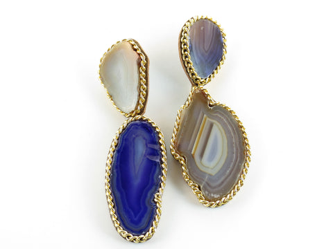 Gemstone Drop Earrings - Purple