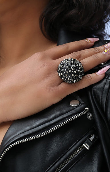 Caviar Cocktail Ring - Ebony