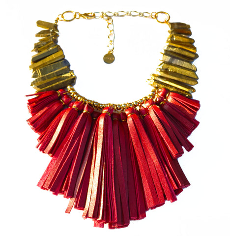 FLO Fringe Necklace - Red