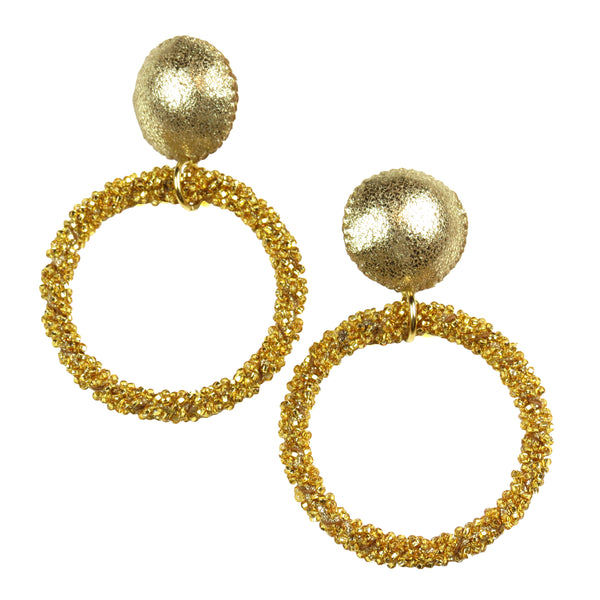 Caviar Hoop Earrings - Gold