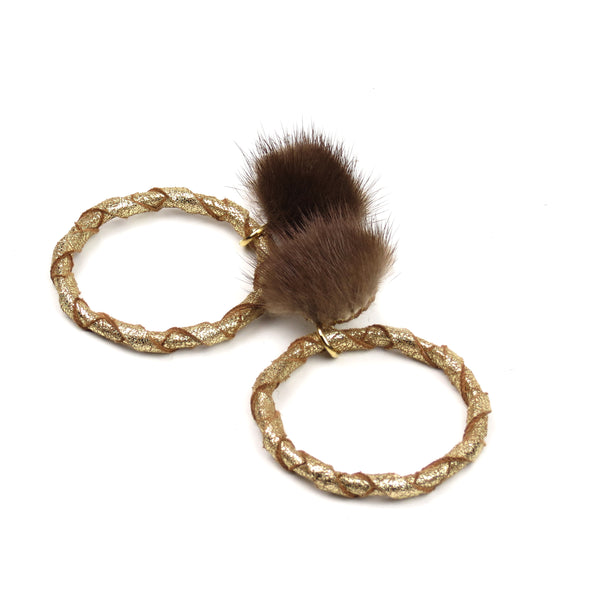 Double Wrap Mink Hoop Earrings - Gold