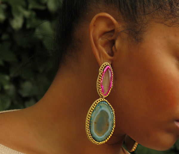 Gemstone Drop Earrings - Pink