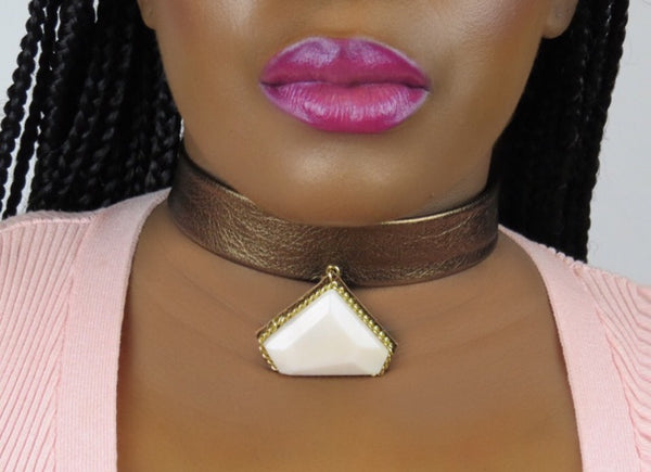 Leather Opal Gemstone Choker Necklace - Bronze