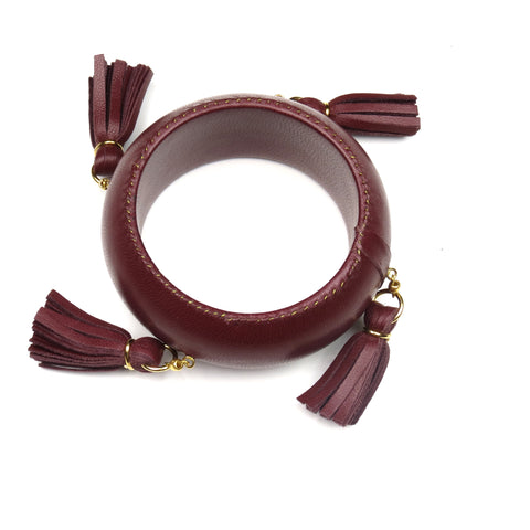 Jumbo Tassel Bangle Bracelet - Wine