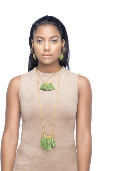 Levels Fringe Necklace - Moss