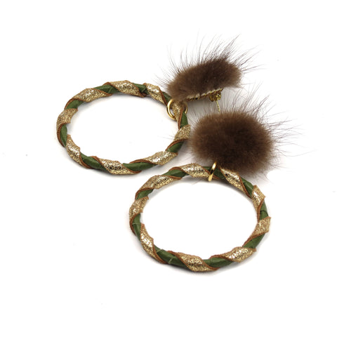 Double Wrap Mink Hoop Earrings - Moss