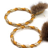 Double Wrap Mink Hoop Earrings - Mustard