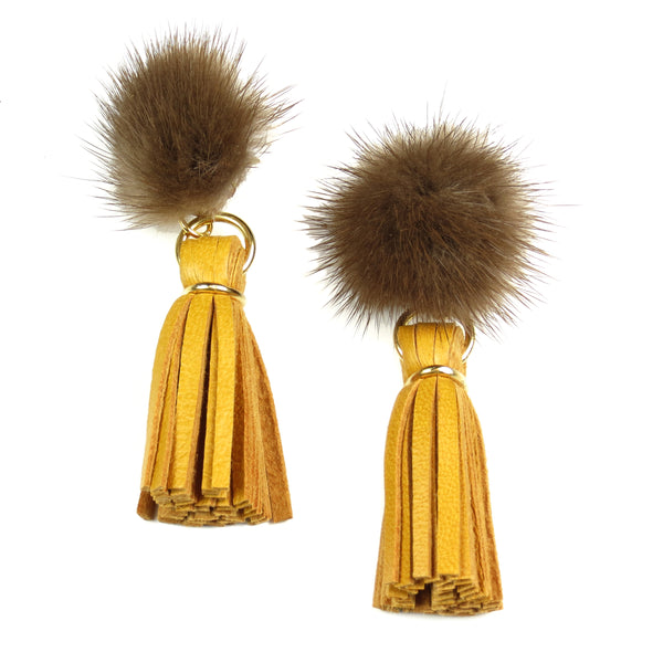 Mink Tassel Earrings - Mustard
