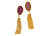 Gemstone Chain Tassel Earrings - Pink