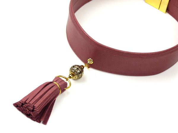Leather Tassel Choker Necklace - Blush Pink