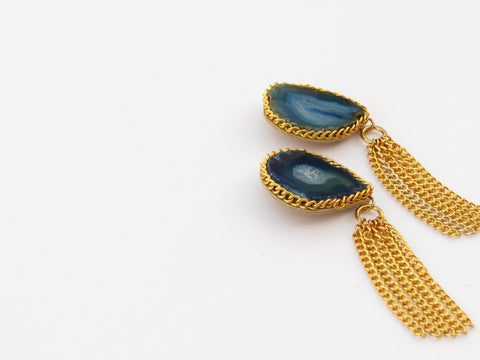 Gemstone Chain Tassel Earrings - Blue