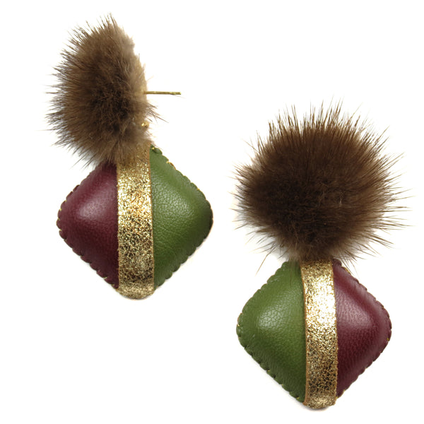 Mink Drop Earrings - Red and Green