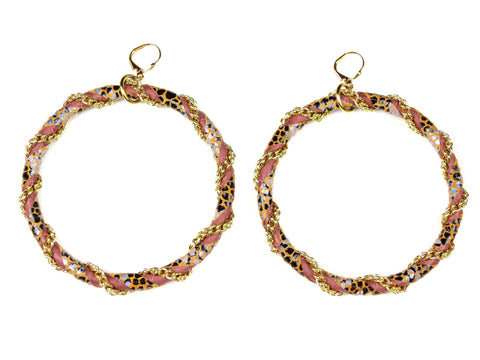 Snakeskin Print Leather Hoop Earrings
