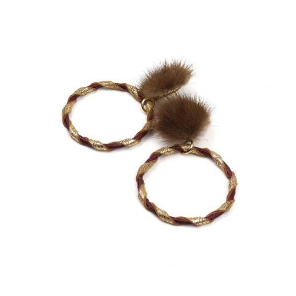 Double Wrap Mink Hoop Earrings - Wine