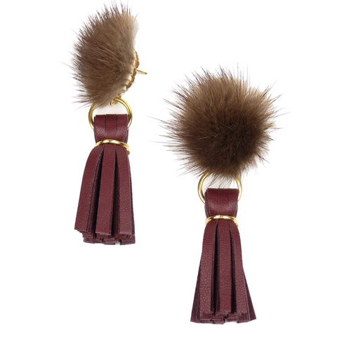 Mink Tassel Earrings - Wine
