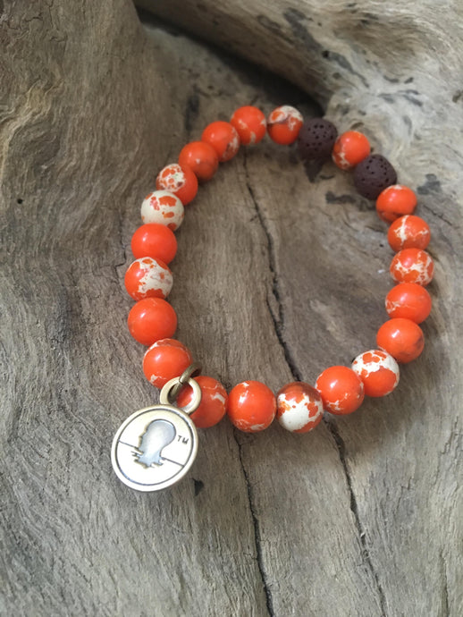 Orange Sea Sediment Jasper Beach Scented Aromatherapy Bracelet