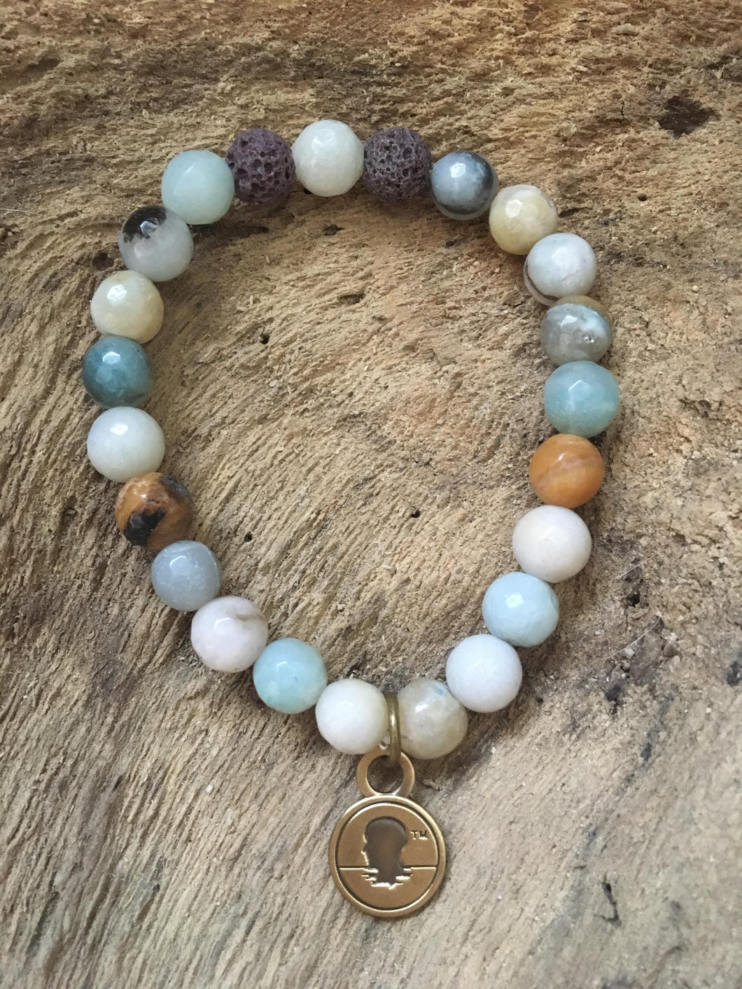 Faceted Polished Amazonite Beach Scented Aromatherapy Bracelet