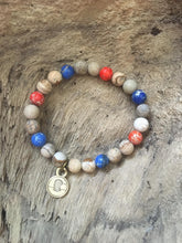 Orange & Blue Sea Sediment & Brown Map Jasper Beach Scented Aromatherapy Bracelet