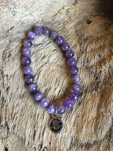 Amethyst Beach Scented Aromatherapy Bracelet - choice of silver or gold logo charm