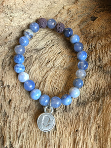 Natural Blue Cracked Fire Agate Beach Scented Aromatherapy Bracelet