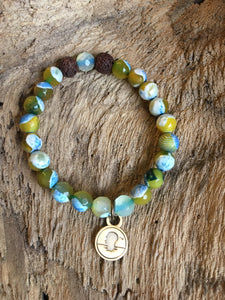 Blue Green Fire Agate Beach Scented Aromatherapy Bracelet
