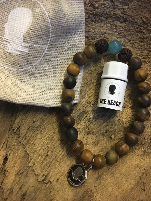 Tiger's Eye Matte Finish Beach Scented Aromatherapy Bracelet - choice of silver or gold charm