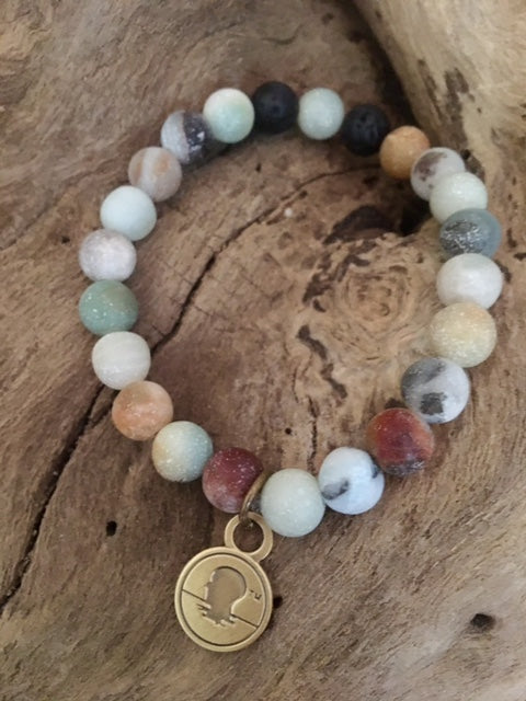 Amazonite Matte Finish Beach Scented Aromatherapy Bracelet - choice of silver or gold charm