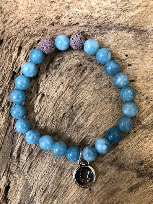 Aquamarine Beach Scented Aromatherapy Bracelet - choice of silver or gold charm
