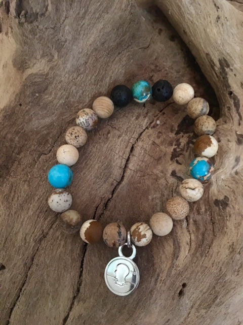 Brown Map with Lake Blue Jasper Beach Scented Aromatherapy Bracelet
