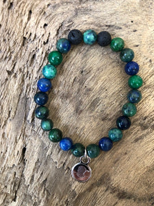 Chrysocolla Stone Beach Scented Aromatherapy Bracelet - choice of silver or gold charm
