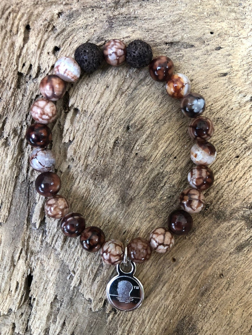 Coffee Brown Lace Agate Beach Scented Aromatherapy Bracelet