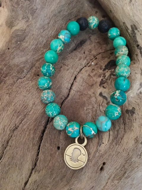 Sea Green Sediment Jasper Beach Scented Aromatherapy Bracelet
