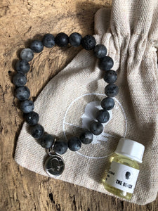 Labradorite Matte Finish Beach Scented Aromatherapy Bracelet - choice of silver or gold charm