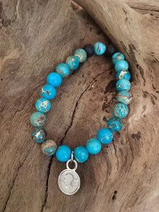 Lake Blue Sea Jasper Beach Scented Aromatherapy Bracelet
