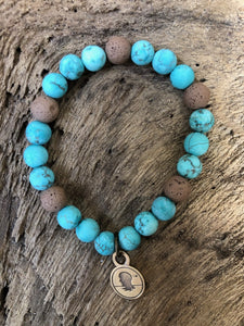 Natural Turquoise Matte Finish Beach Scented Aromatherapy Bracelet - choice of silver or gold charm
