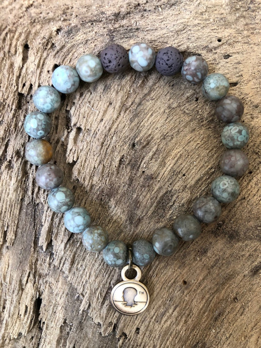 Blue Rain Stone Beach Scented Aromatherapy Bracelet - choice of silver or gold charm